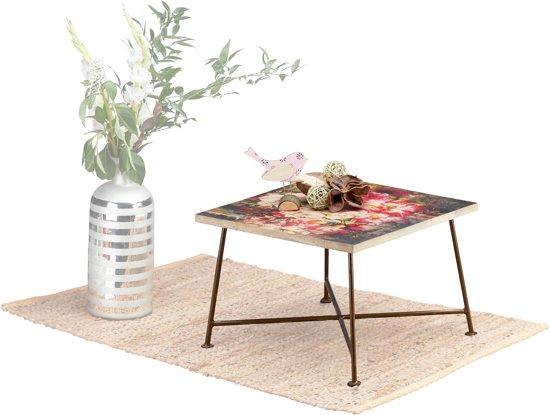 Bol native home bijzettafel vintage salontafel hout metaal