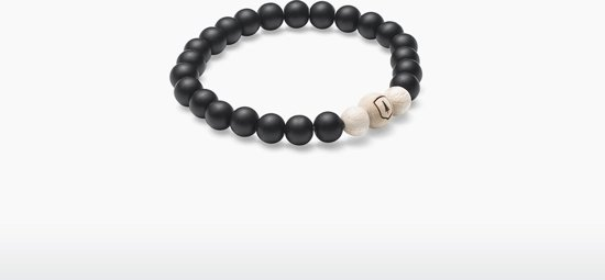 BeWooden Armband – Unisex – Bellis – Esdoorn & Zwarte Onyx - Product Grootte: S (16-17 cm)