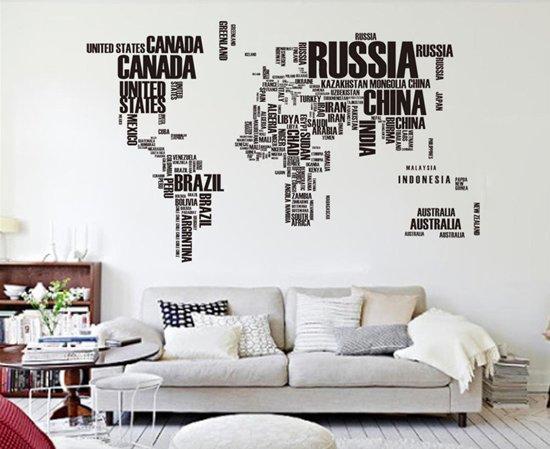 Muursticker wereldkaart zwart in letters voor woonkamer en kantoor decoratie hip desi - Decoratie kantoor ...