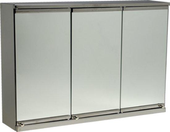 Spiegelkast Badkamer Hoog : Bol.com rvs spiegelkast 3 deuren 602203