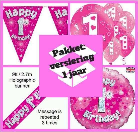 Bol Com 1 Jaar Versiering Meisje Eerste Verjaardag Roze Pakket