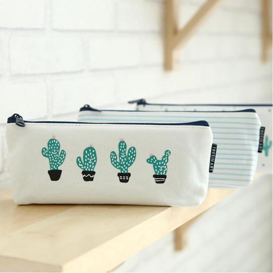 Cactus Etui - Make-up Tasje - Streepjes Design