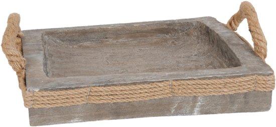 Clayre & Eef 6H1035 hout touw- Schoot-dienblad 31*31*5 cm