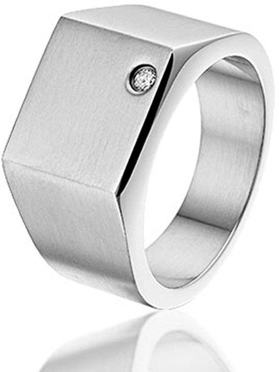 Montebello Ring Stockton - Heren - 316L Staal - Zirkonia - 10 mm - Maat 64 - 20.4