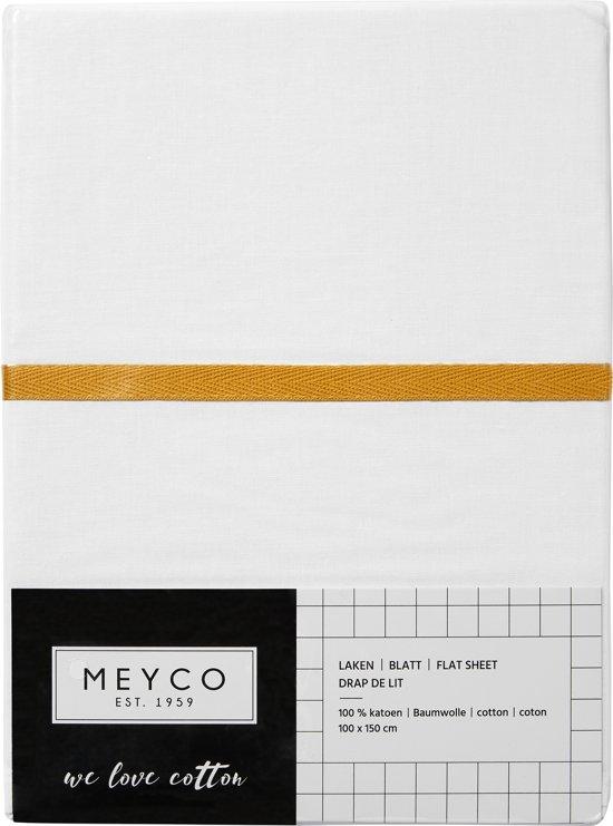 Meyco ledikantlaken wit met bies - 100 x 150 cm - okergeel