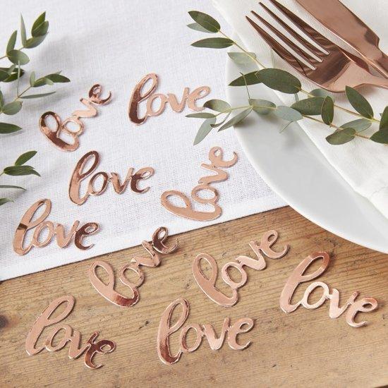 Tafelconfetti - Love rosé goud (14 gram) Valentinaa