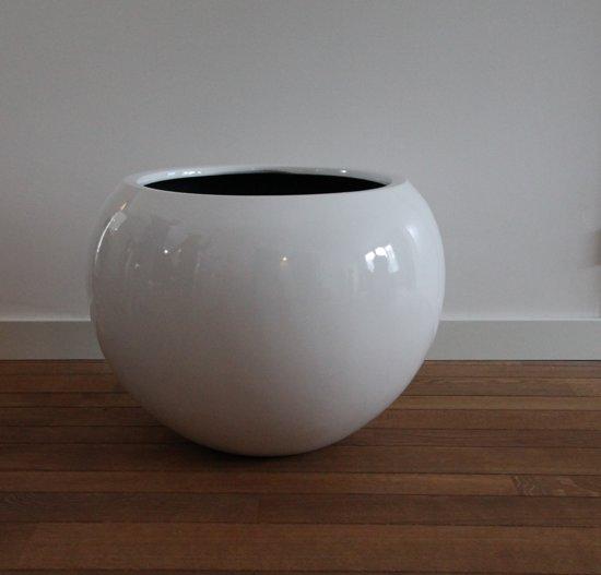 Bloempot Binnen Wit.Bol Com Bloempot Fiberstone Hoogglans Wit 60cm Voor Binnen En Buiten