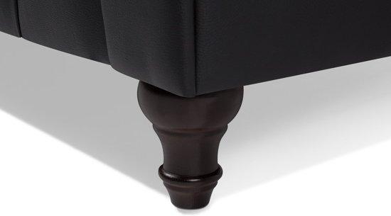 Beliani 3-Zits bank met knopenenset Zwart Kunstleer