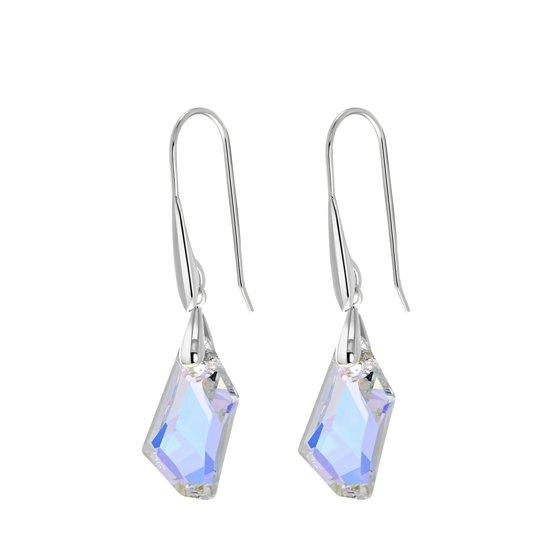 Lucardi Oorbellen - Zilveren oorbellen Swarovski kristal AB