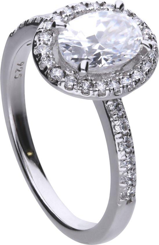 Diamonfire - Zilveren ring met steen Maat 16 - Bridal - Zirkonia - Entourage - Vintage