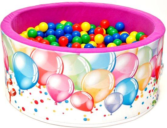 Ballenbak | Wit en roze met balonnen incl.  200 gele, groene, blauwe en rode ballen
