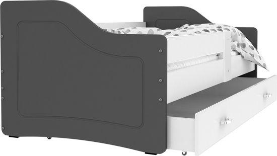 Kinderbed luxe uitvoering 180x80 cm - grijs/wit - met lade - zonder matras