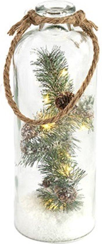 fles met verlichte kersttak 32 cmled lampjes op batterijen