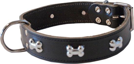 Halsband met botjes donkerbruin 30mm - 40cm