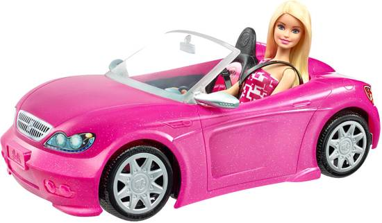 Bol Com Barbie Doll Glam Convertible Cabrio Voertuig Incl Pop