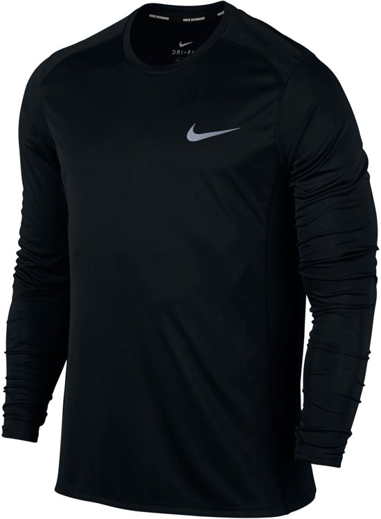 Nike Dry Miler Hardloop Longsleeve Shirt Heren Sportshirt - Maat L  - Mannen - zwart