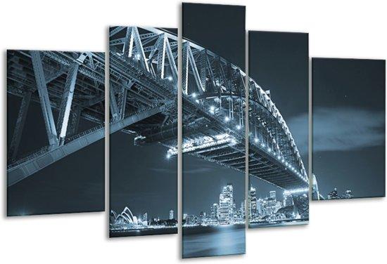 Glas schilderij Steden, Brug | Blauw | 170x100cm 5Luik | Foto print op Glas |  F006352