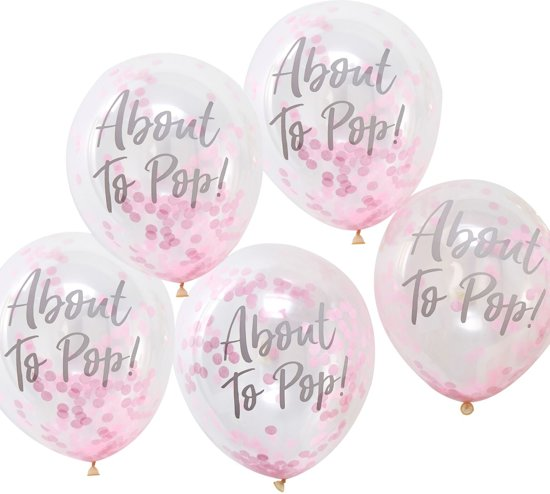 Ginger Ray Oh Baby! 'About To Pop' Ballon gevuld met roze confetti Ø 28 cm - Set-5 Valentinaa