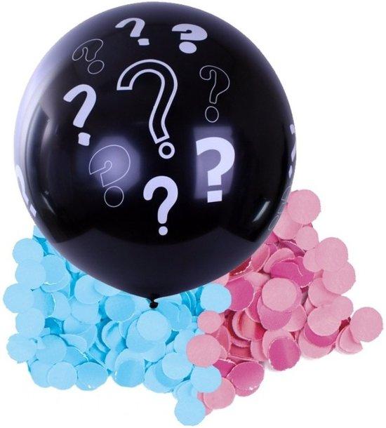 Gender reveal ballon inclusief roze en blauwe confetti - 90 cm - geslachtsonthulling versiering