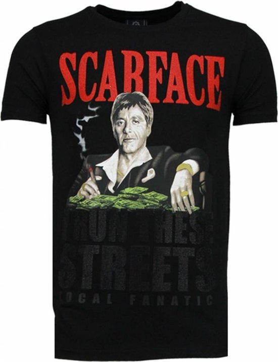 862261d09e1b9c Local Fanatic Scarface Boss - Rhinestone T-shirt - Zwart - Maten  XXL