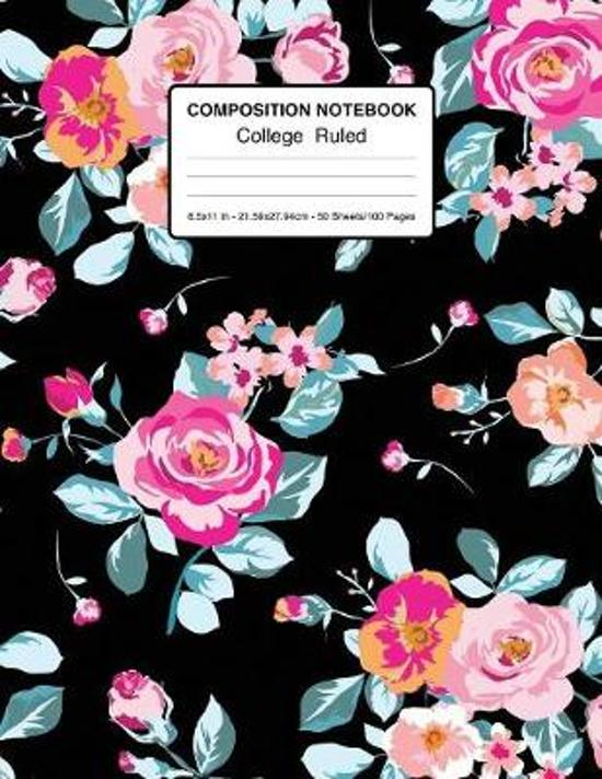 Composition Notebook College Ruled 8.5x11 In 21.59x27.94 50 Sheets/100 Pages: Vintage Composition Notebook College Ruled - 1 Subject Floral Notebook L