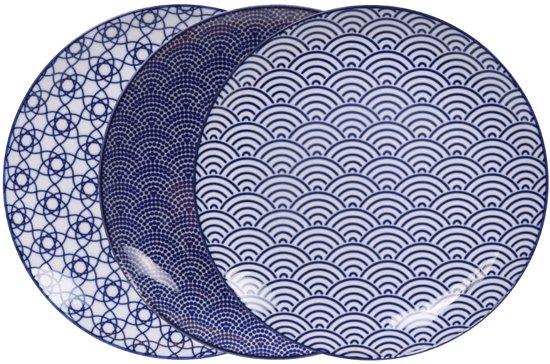 Tokyo Design Studio Servies.Tokyo Design Studio Nippon Blue Dinerbord O 25 7 Cm 3 Stuks
