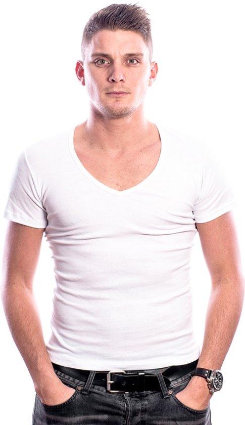 Maat V Hals T Diepe Shirt Wit Heren Beeren M 0w1Rff