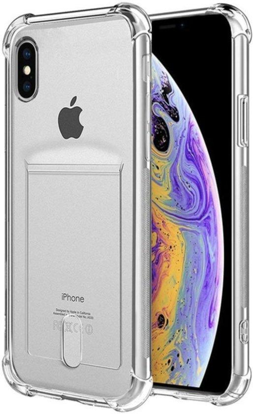 Extra Stevige Backcover voor Apple iPhone X | iPhone XS | Siliconen Hoesje met Versterkte Randen | Shockproof Transparant Doorzichtig | TPU Gel Soft Case | Kaarthouder | Wallet Card slot