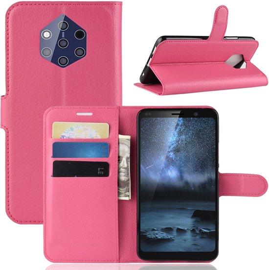 Hoesje voor Nokia 9 PureView, 3-in-1 bookcase, donkerroze