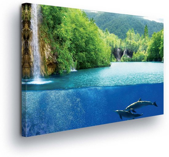 Waterfall Sea Nature Dolphins Canvas Print 100cm x 75cm