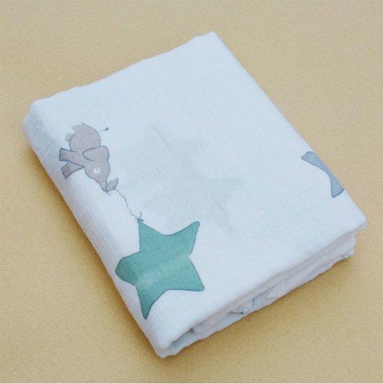 fa186228dd0 Swaddle XL Hydrofiel doek omslagdoek 120x120 cm - katoen - Olifant ster  groen