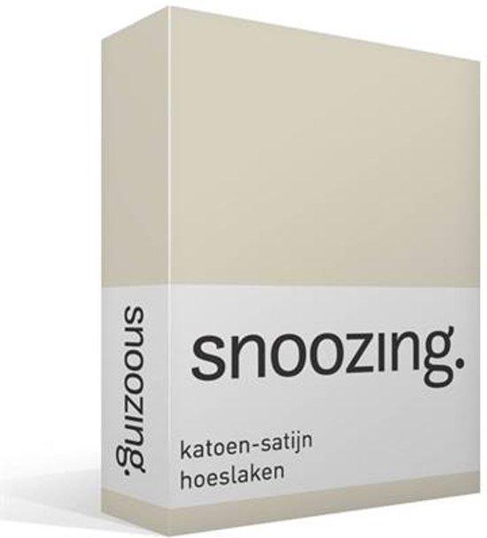 Snoozing - Katoen-satijn - Hoeslaken - Tweepersoons - 140x200 cm - Ivoor