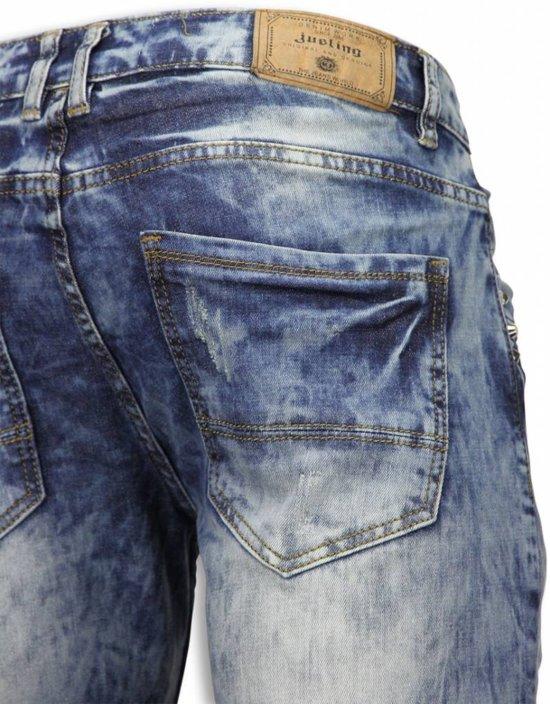 Maten33 Korte Vintage Justing HerenSlim Fit Shorts Broeken Look Blauw qpMjzVGLSU