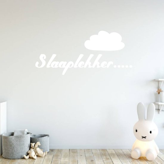 Muursticker Slaaplekker Met Wolk -  Wit -  80 x 37 cm  - Muursticker4Sale