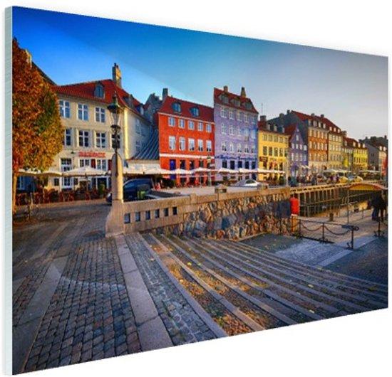 Kleurrijke huizen Kopenhagen Glas 120x80 cm - Foto print op Glas (Plexiglas wanddecoratie)
