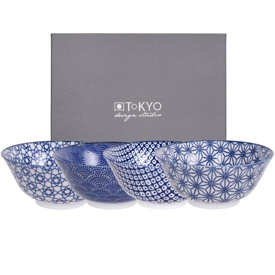 Tokyo Design Studio Nippon Blue Kommen -   15 cm - Set van 4