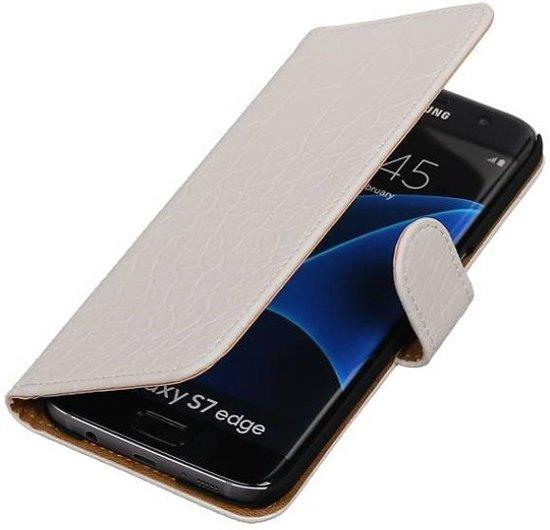 Samsung Galaxy S7 Edge Hoesje Krokodil Bookstyle Wit