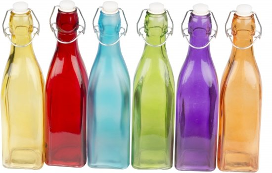 Gekleurde decoratie fles 27 cm Blauw