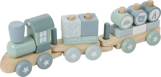 Afbeelding van Little Dutch Blokkentrein Adventure Blue speelgoed