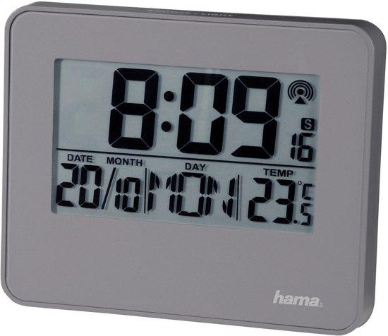 Hama Radio gestuurde wekker RC650 met LED licht grijs