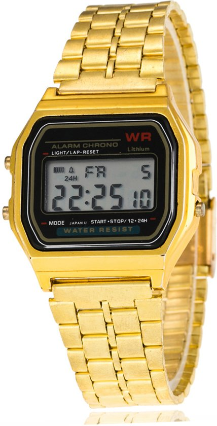 Digitaal Retro Horloge Goud - Zwart Front