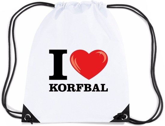 Nylon I love korfbal rugzak/ sporttas wit met rijgkoord