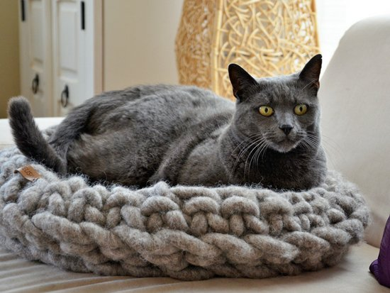 Kattenmand wol - Grijs - Ø 45 cm