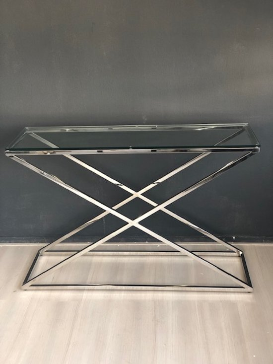 Sidetable Glas Rvs.Bol Com Luxuryliving Cross Sidetable Chroom