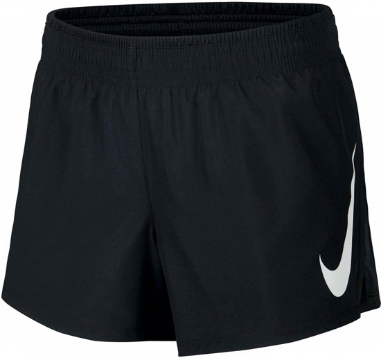 Nike Swoosh Run Short Dames Sportbroek - Black/Black/(White) - Maat XL