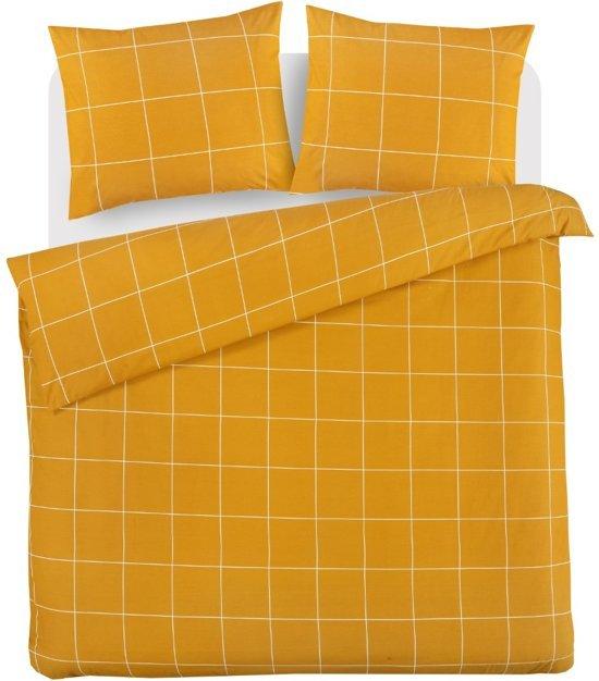 Comfortabele Katoen Dekbedovertrek Ruiten Oker | 200x200/220 | Ademend En Zacht | Strijkvrij