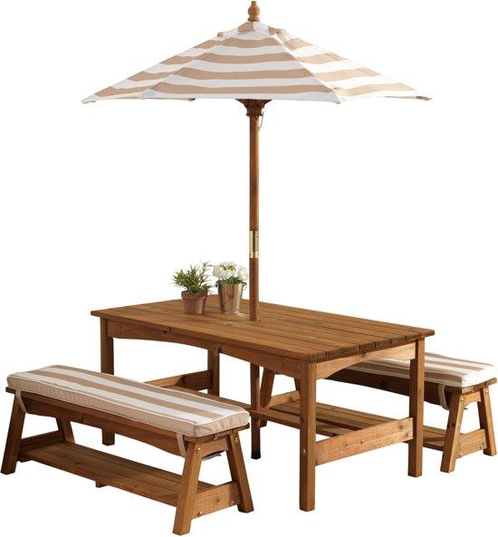 Goede bol.com | KidKraft Buitenset met tafel en bankjes met kussens en IK-77