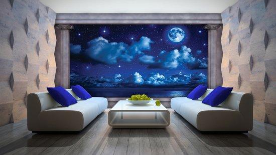 Fotobehang Vlies   Nacht, Maan   Blauw   368x254cm (bxh)