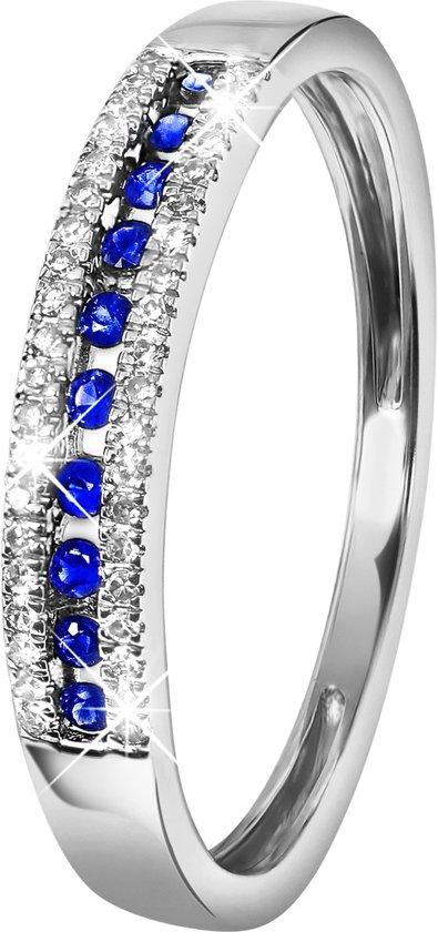 Lucardi - Diamond Luxury - 14 Karaat witgouden ring saffier en diamant