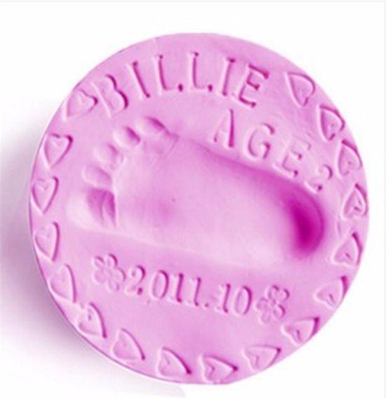 Klei afdruk hand / voet (2 stuk, kleur roze) - Goedkoper alternatief gipsafdruk baby